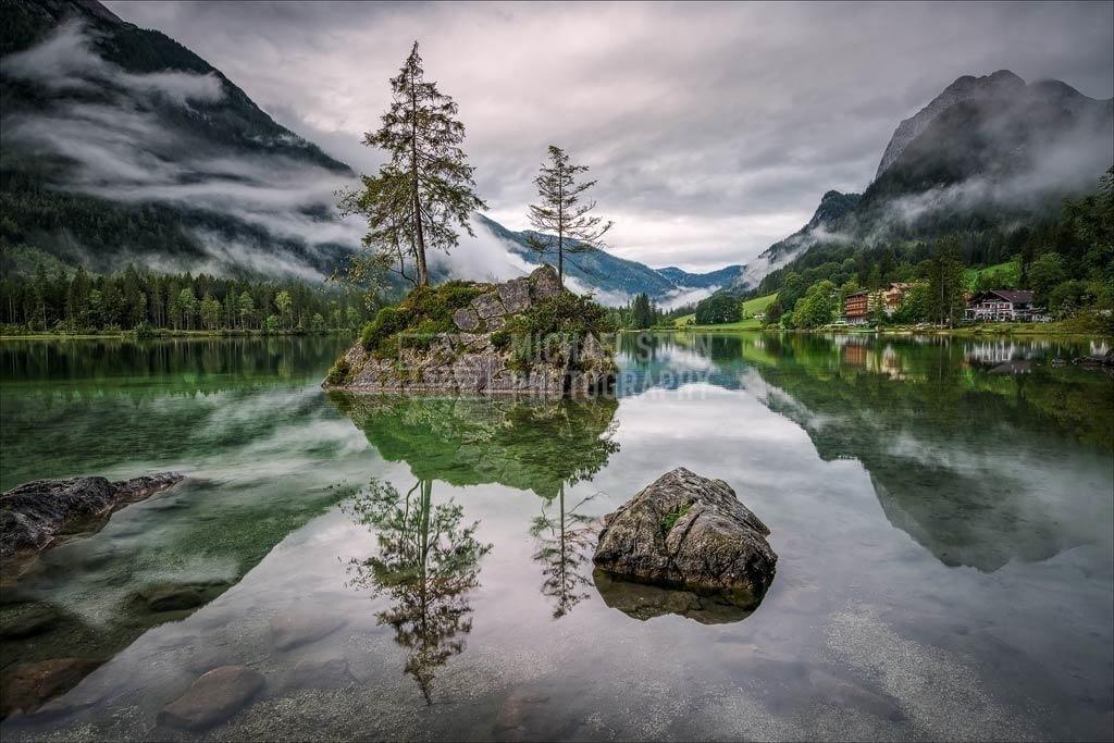 Deutschland - Bauminsel im Hintesee mit Nebel   Morgennebel am Hintersee im Berchtesgadener Land in Deutschland