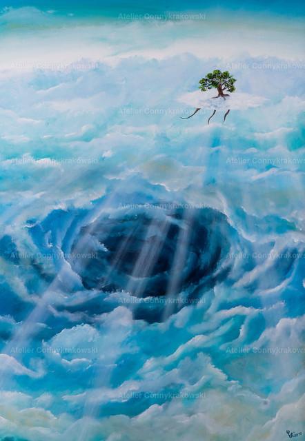 Die Flucht nach vorne C | Phantastischer Realismus aus dem Atelier Conny Krakowski. Verkäuflich als Poster, Leinwanddruck und vieles mehr.