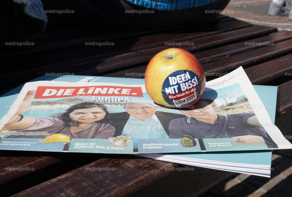 Die Linke Ideen mit Biss Apfel Europa Wahlkampf