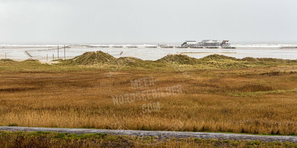141208-dezember regen beach strandbar-9277 | Pfahlbauten am Strand von St. Peter-Ording