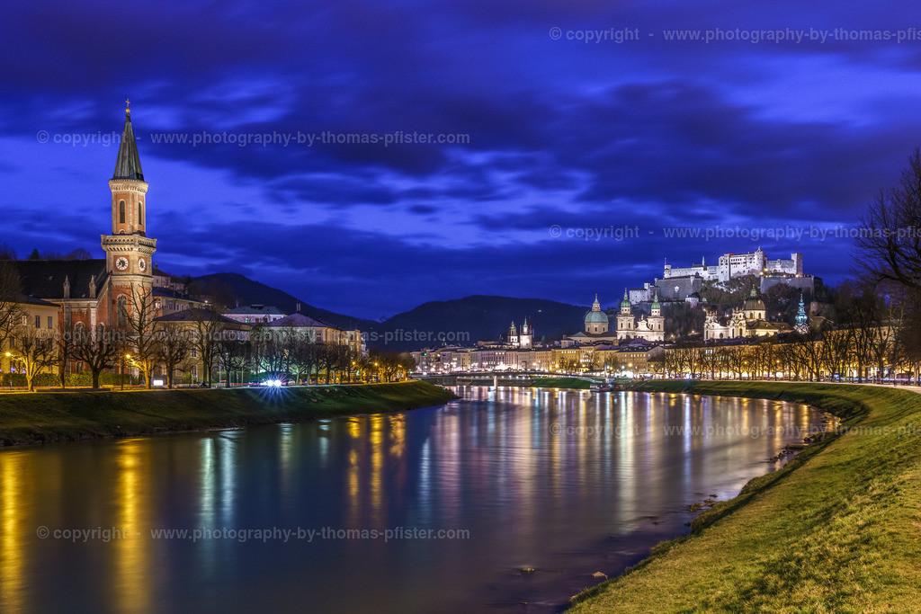 Salzburg Blaue Stunde an der Salzach-3