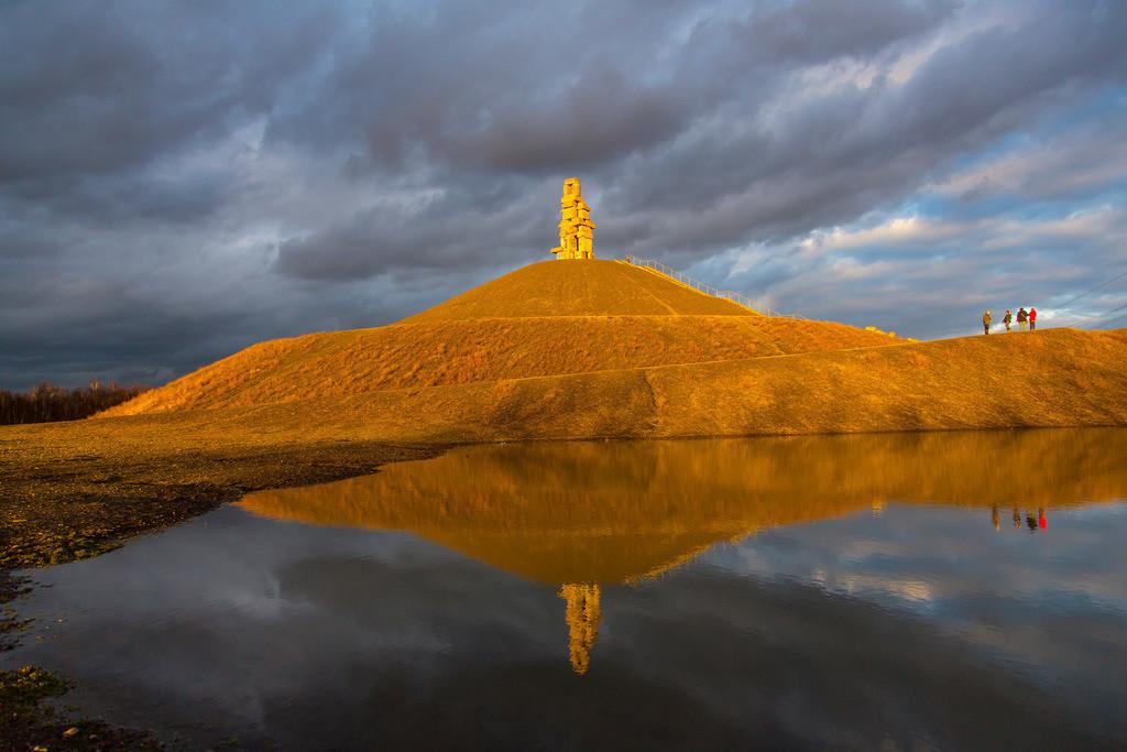 JT-150301-013 | Halde Rheinelbe in Gelsenkirchen, 100 Meter hohe Bergehalde, Landschaftspark, mit der Skulptur Himmelsleiter, aus Betonteilen der ehemaligen Zeche Rheinelbe