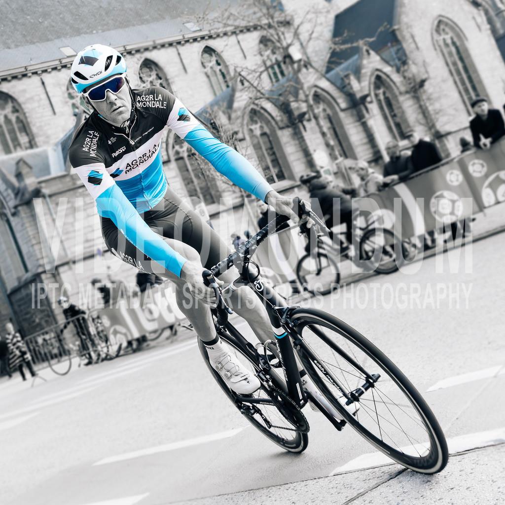 Deinze, Belgium - March 31, 2019: Team AG2R La Mondiale rider Stijn Vandenbergh at the team presentation of the Gent-Wevelgem UCI men elite road cycling event | Deinze, Belgium - March 31, 2019: Team AG2R La Mondiale rider Stijn Vandenbergh at the team presentation of the Gent-Wevelgem UCI men elite road cycling event, Photo: videomundum