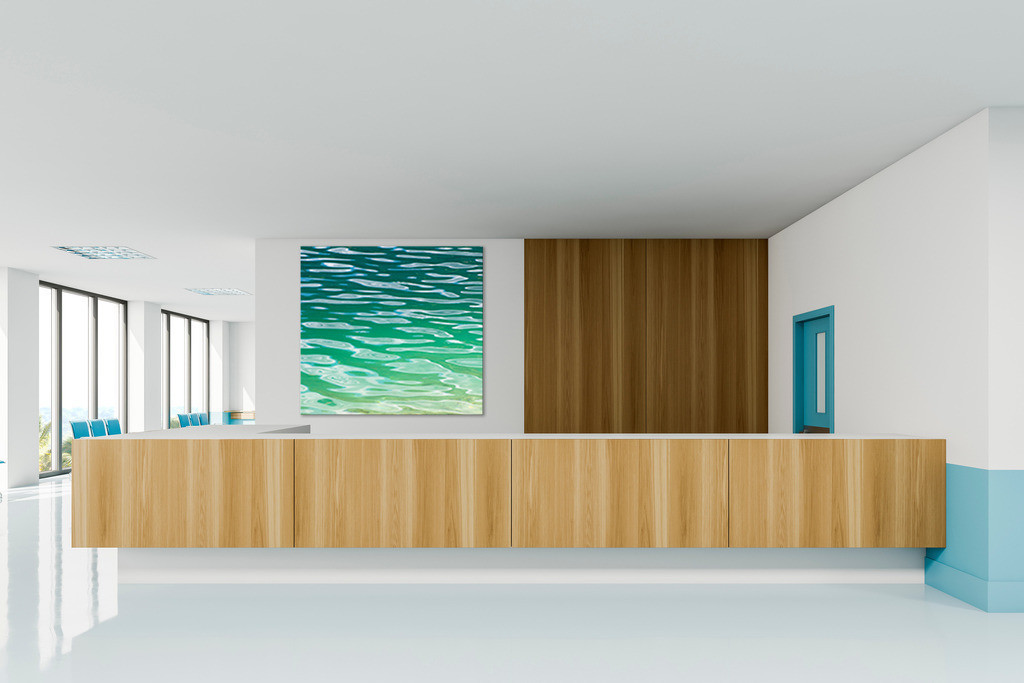 Empty reception desk in modern hospital | Interior of modern hospital corridor with white and blue walls, large reception counter and rows of blue chairs. 3d rendering