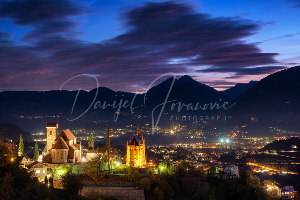 Schenna | Schenna bei Nacht mit Blick nach Meran