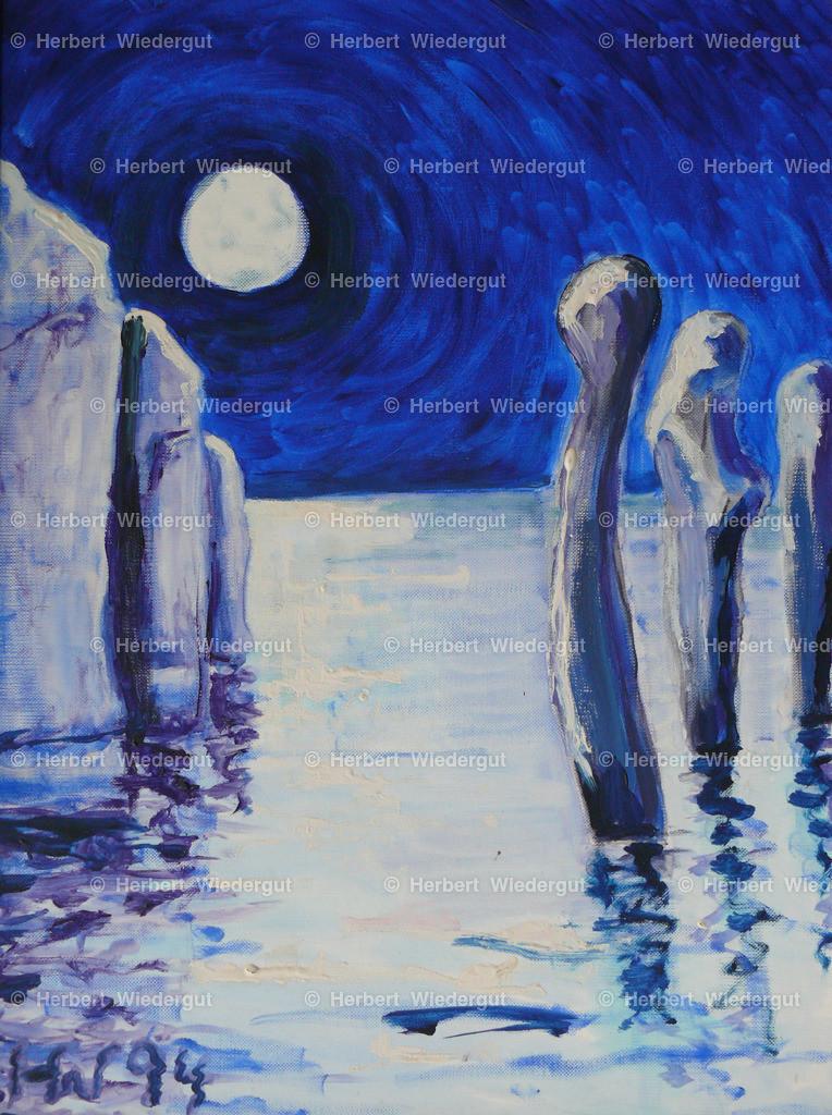 Kaltes Mondlicht | Ölgemälde von Dr. Herbert Wiedergut