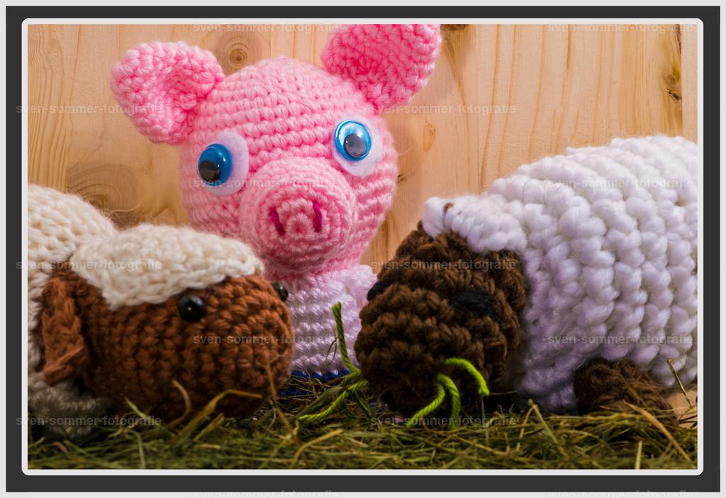 Schweinchen Konrad mit Schafen | gehäckelte Figuen stehen auf Heu