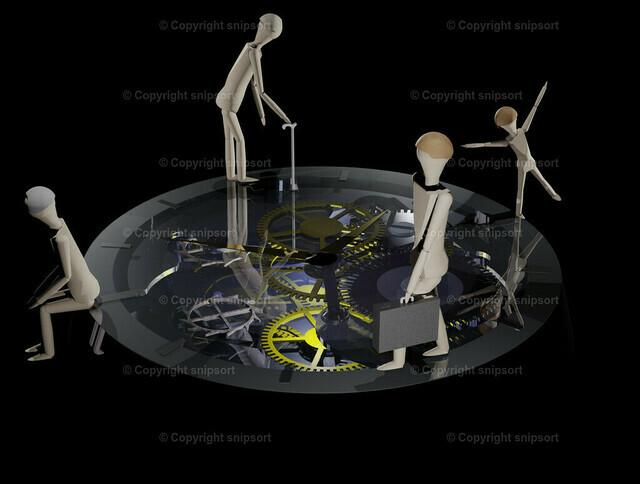 Konzept der Zeit als Lebensuhr (3D-Rendering) | Eine Lebensuhr, auf der ein Mensch in verschiedenen Lebensphasen im Kreis läuft (3D Rendering)