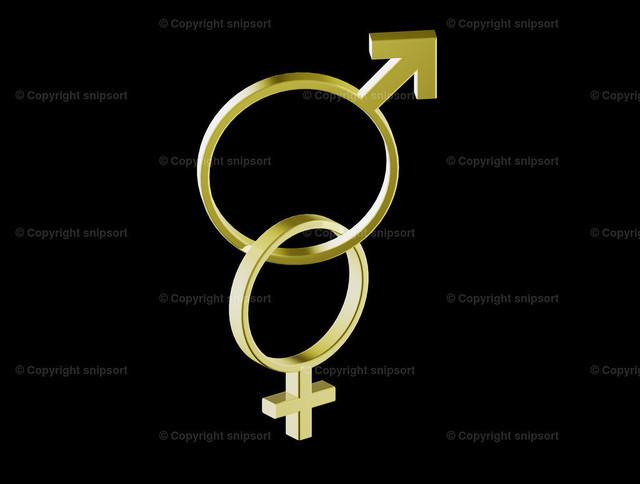 Ineinander verkettete Ringe | Konzept von ineinander verketteten Goldringen geformt als Symbol für Mann und Frau.