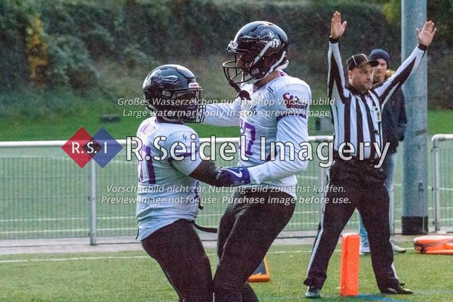 0:6 Touchdown durch die Berliner | Foto des Volvo Krüll Halloween Game XI der Hamburg Ravens gegen die Berlin Knights vom 27.10.2018 auf der Jahnhöhe.