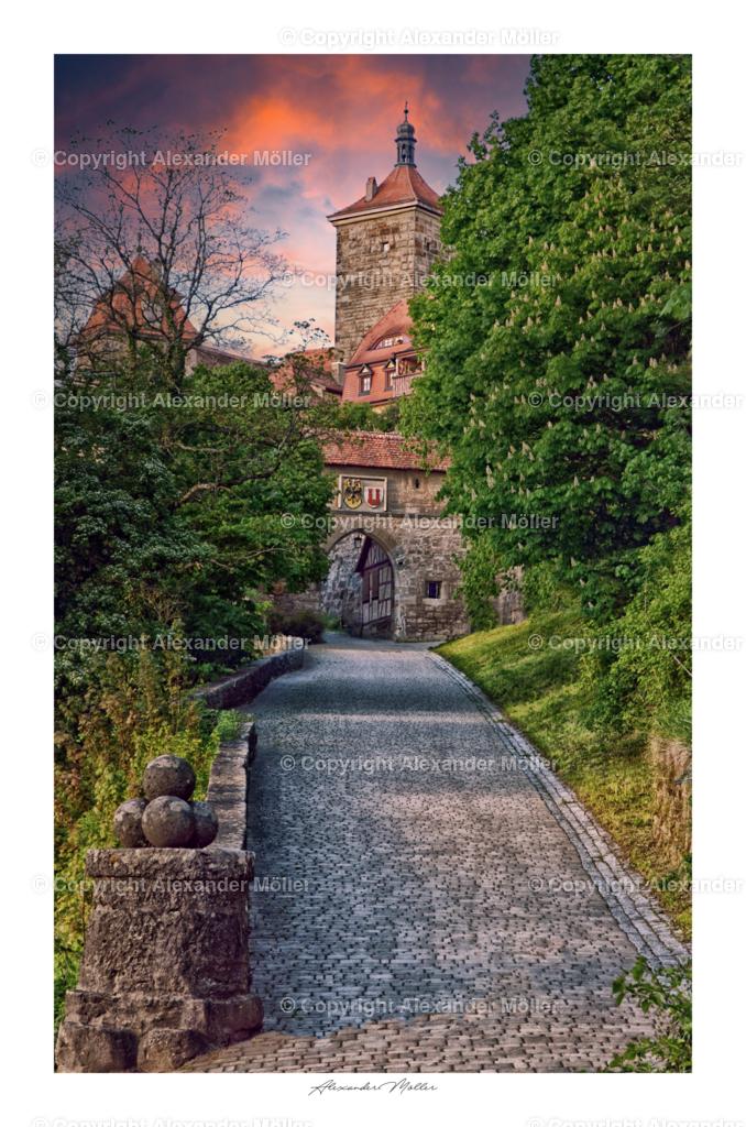 Rothenburg ob der Tauber No.10 | Dieses Werk zeigt Kobolzeller Steige mit Kobolzeller Tor.