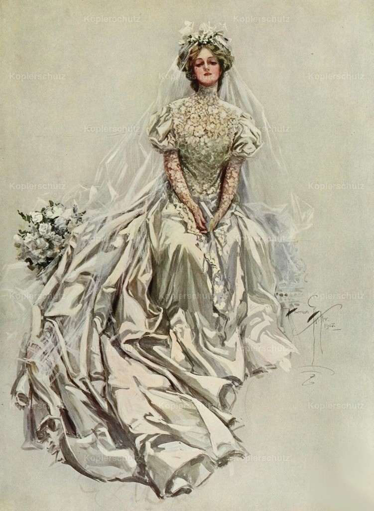 Fisher_ Harrison (1875-1934) - American Beauties 1909 - Wedding dress