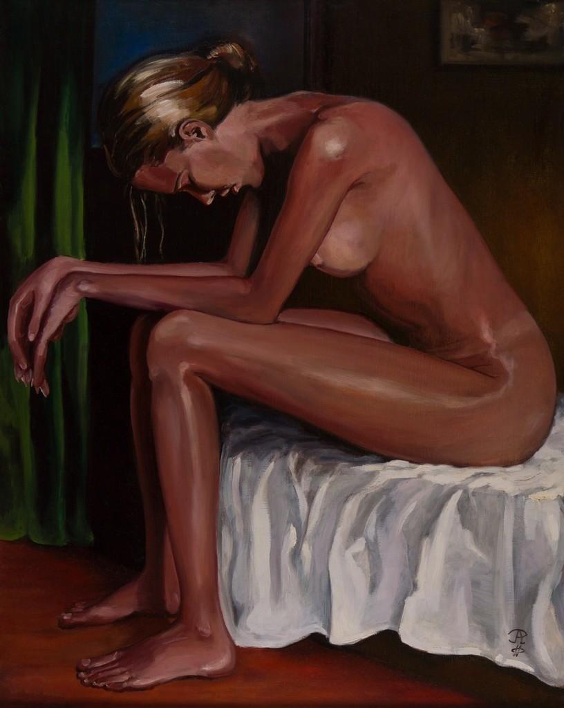 Mädchenakt sitzend | Originalformat: 75x60cm  -   Produktionsjahr: 1999
