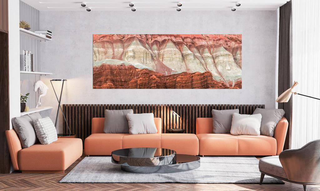 Farbiges Gestein zur Wandgestaltung im Wohnzimmer | Anwendungsbeispiel für die Gestaltung Ihres Wohnbereichs. Sie finden dieses Motiv in der Galerie Farben und Formen - Strukturen und Muster