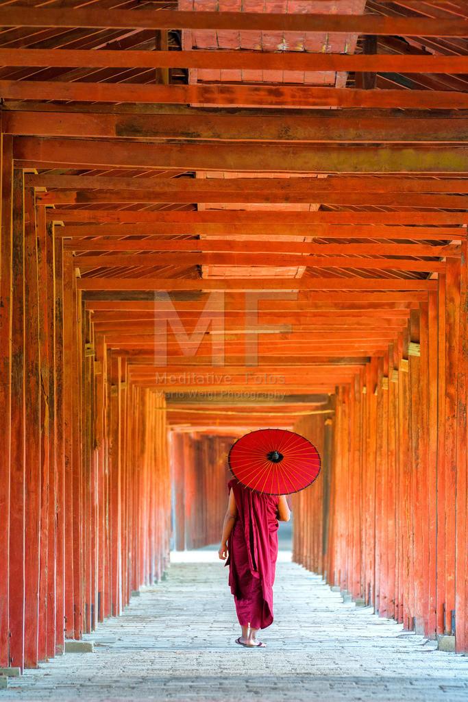 MW1119-2527 | Fotoserie: DER ROTE SCHIRM | Buddhistischer Mönch in einem Kloster in Myanmar