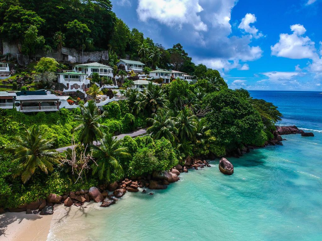 Baie Lazare - Seychellen | Luftaufnahme vom Strand Baie Lazare