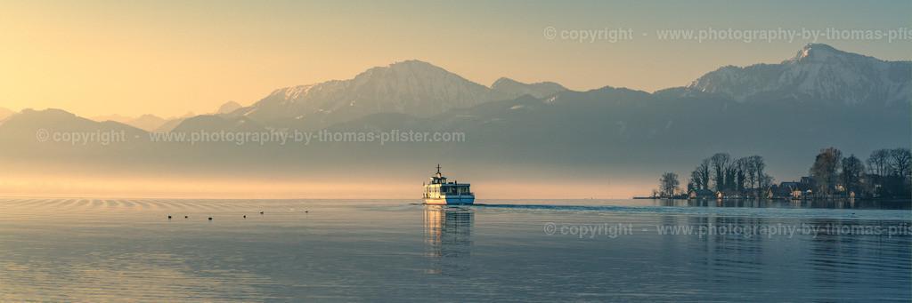 Boot im Chiemsee Sonnenaufgang