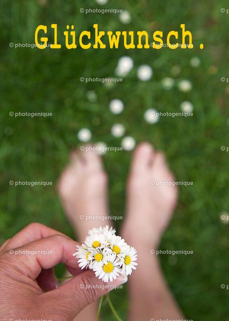 Geburtstagskarte ein Strauß Gänseblümchen: Glückwunsch   eine Hand hält einen kleinen Strauß Gänseblümchen und zwei Füße stehen auf einer grünen Wiese mit dem Text Glückwunsch