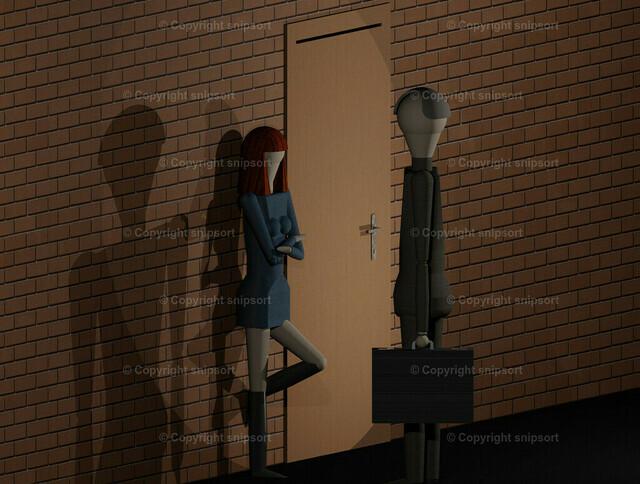Freier spricht eine Prostituierte an | Ein Geschäftsmann spricht eine Prostituierte an (3D Rendering)