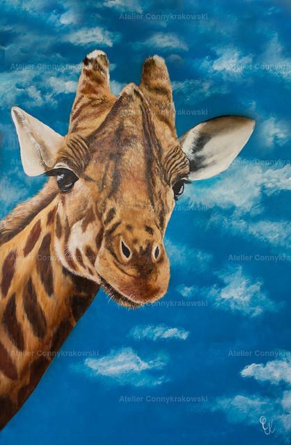 Giraffe | Phantastischer Realismus aus dem Atelier Conny Krakowski. Verkäuflich als Poster, Leinwanddruck und vieles mehr.