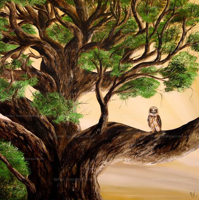 Eule im Baum4000 | Phantastischer Realismus aus dem Atelier Conny Krakowski. Verkäuflich als Poster, Leinwanddruck und vieles mehr.