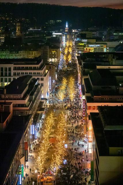 Stuttgart Königstraße Fußgängerzone Nachtaufnahme   DEU, Deutschland, Filderstadt, 29.12.2018, Stuttgart Königstraße Fußgängerzone Nachtaufnahme [2018 Jahr Christoph Hermann]