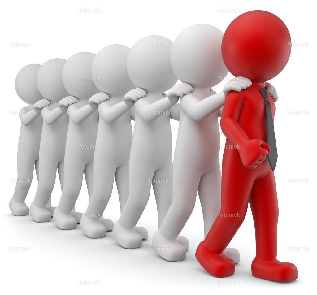 3d Männchen als Anführer vorne dran | 3d Männchen führt seine Mitarbeiter als Teamleitung an.