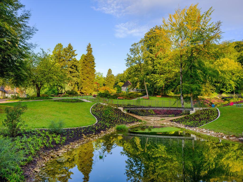 Botanischer Garten Bielefeld | Botanischer Garten in Bielefeld mit neu angelegtem Teich im September 2020.