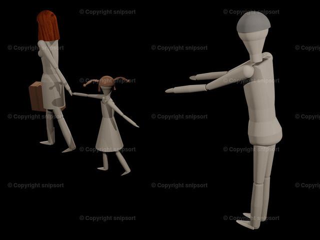 Frau packt die Koffer und nimmt das Kind mit (3D Illustration) | Eine Frau verlässt ihren Mann mit ihrer Tochter (3D-Rendering mit Holzpupen)