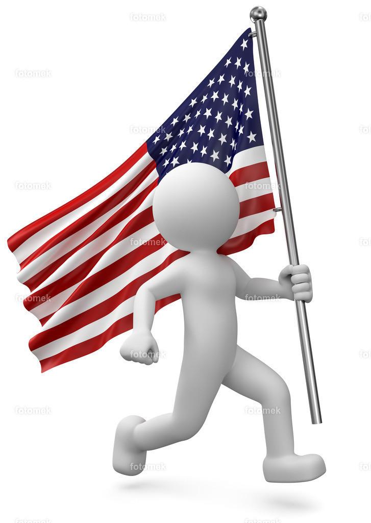 weisses 3d männchen mit America Flagge | 3d Männchen mit amerikanischer Flagge, american flag, präsentiert die vereingten staaten von Amerika