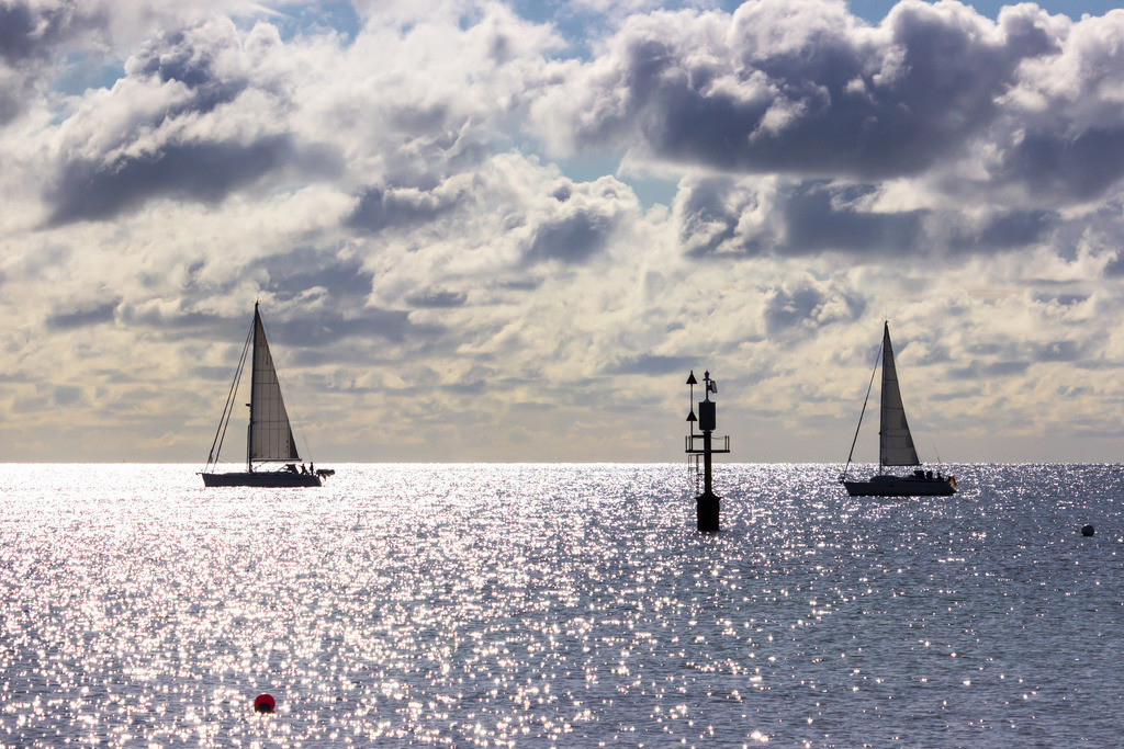 Strand in Damp | Segelboote vor Damp