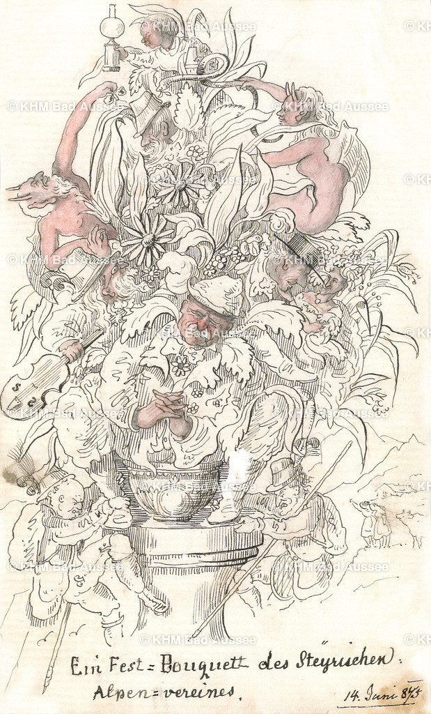 Ritter_02 | Ein Fest = Bouquett des Steyrischen Alpenvereines Karrikatur gezeichnet von Ritter