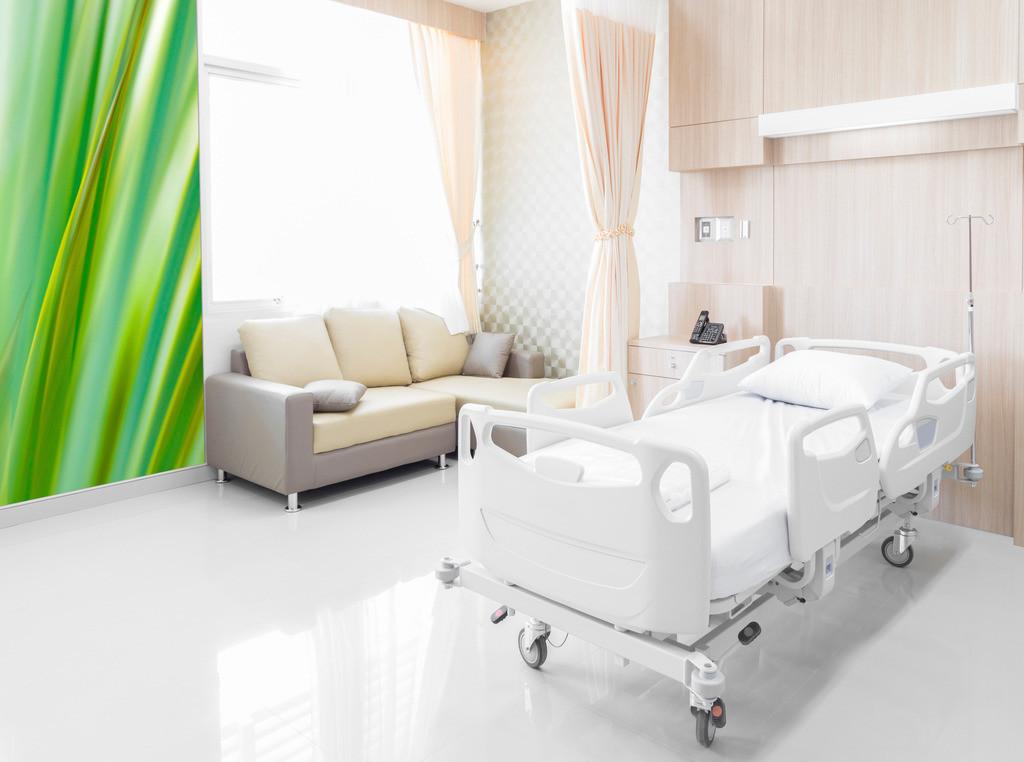 Abstraktes Blattmotiv für ein Patientenzimmer in einer Klinik | Anwendungsbeispiel für ein Patientenzimmer in einerm Krankenhaus. Hier bietet sich als Material eine Fototapete an. Sie finden dieses Motiv in der Galerie Farben und Formen - Pflanzen abstrakt