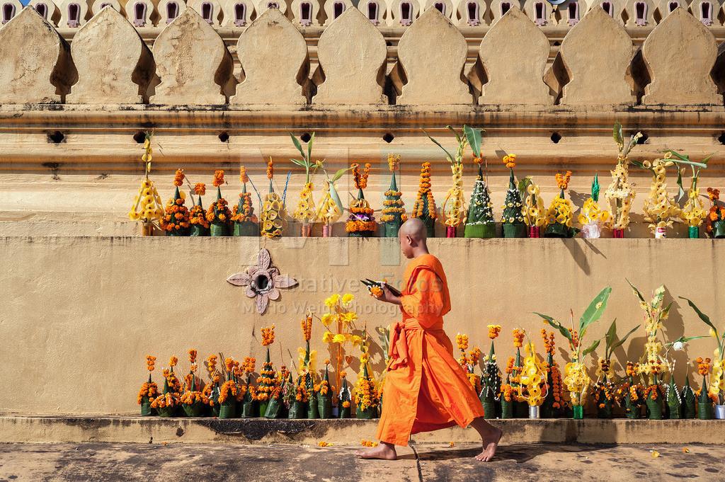 MW1108-2956 | Mönch im Wat That Luang in Vientiane