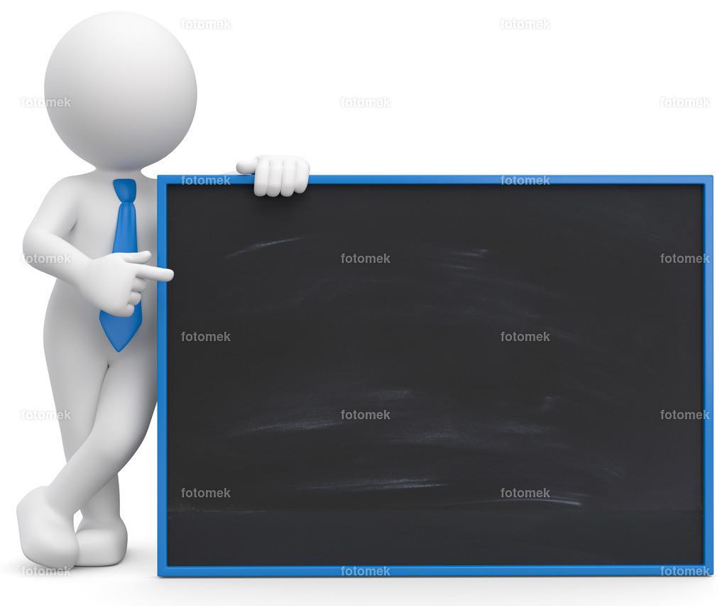 3d Männchen mit Tafel | 3d Männchen hält die Anzeigentafel und zeigt mit dem Zeigefinger auf die Neuigkeiten.