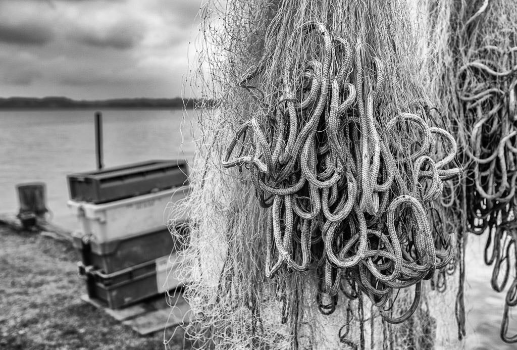 Auf einer Landungsbrücke am Holm in Schleswig © Holger Rüdel | Die Landungsbrücken am Holmer Strand sind grasbewachsene Anleger der Schleswiger Fischer. Hier machen sie seit Jahrhunderten ihre Boote fest und lagern ihr Material wie diese Kisten und Netze.
