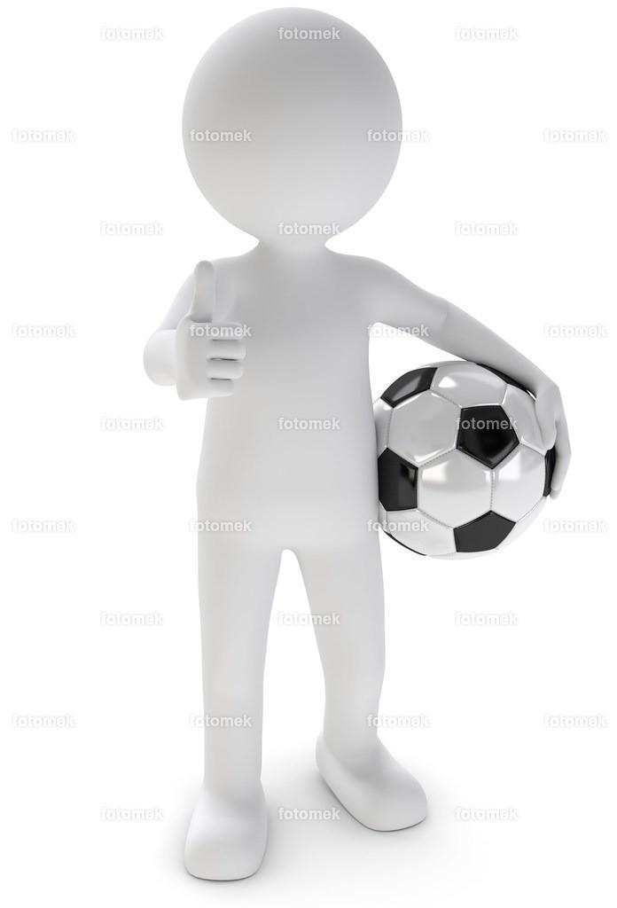 fussball daumen hoch   weisse 3D Männchen von Fotomek