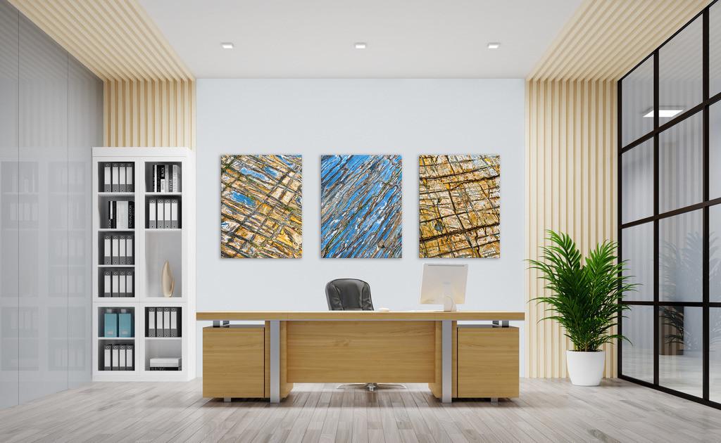 Bildserie Steinstrukturen für Ihr Büro | Anwendungsbeispiel für Wandbilder in Ihrem Büro. Dieses Triptychon finden Sie in der Kategorie Nimm drei - Steingeschichten.