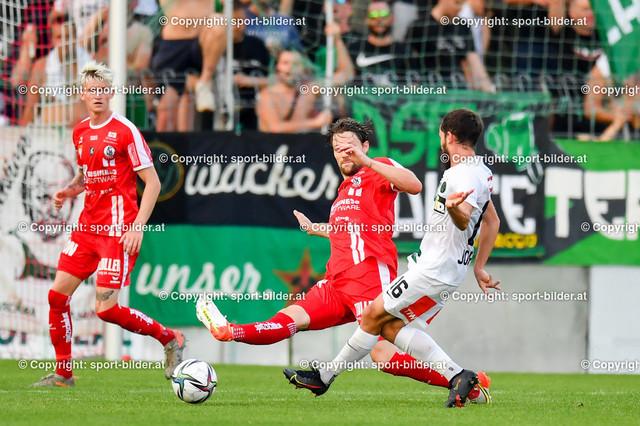 AUT, 2.Liga, SK Vorwaerts Steyr vs FC Wacker Innsbruck | 13.08.2021, EK Arena Steyr, AUT, 2.Liga, SK Vorwaerts Steyr vs FC Wacker Innsbruck, im Bild Christoph Freitag (Steyr) vs Alexander Joppich (Wacker Innsbruck)