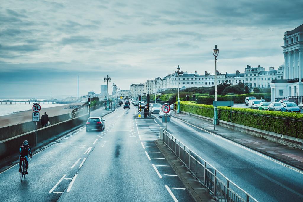 Brighton   Blick aus Doppeldeckerbus, urban, Straßen, Brighton, England
