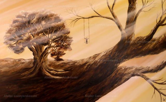 Im Baum C | Phantastischer Realismus aus dem Atelier Conny Krakowski. Verkäuflich als Poster, Leinwanddruck und vieles mehr.