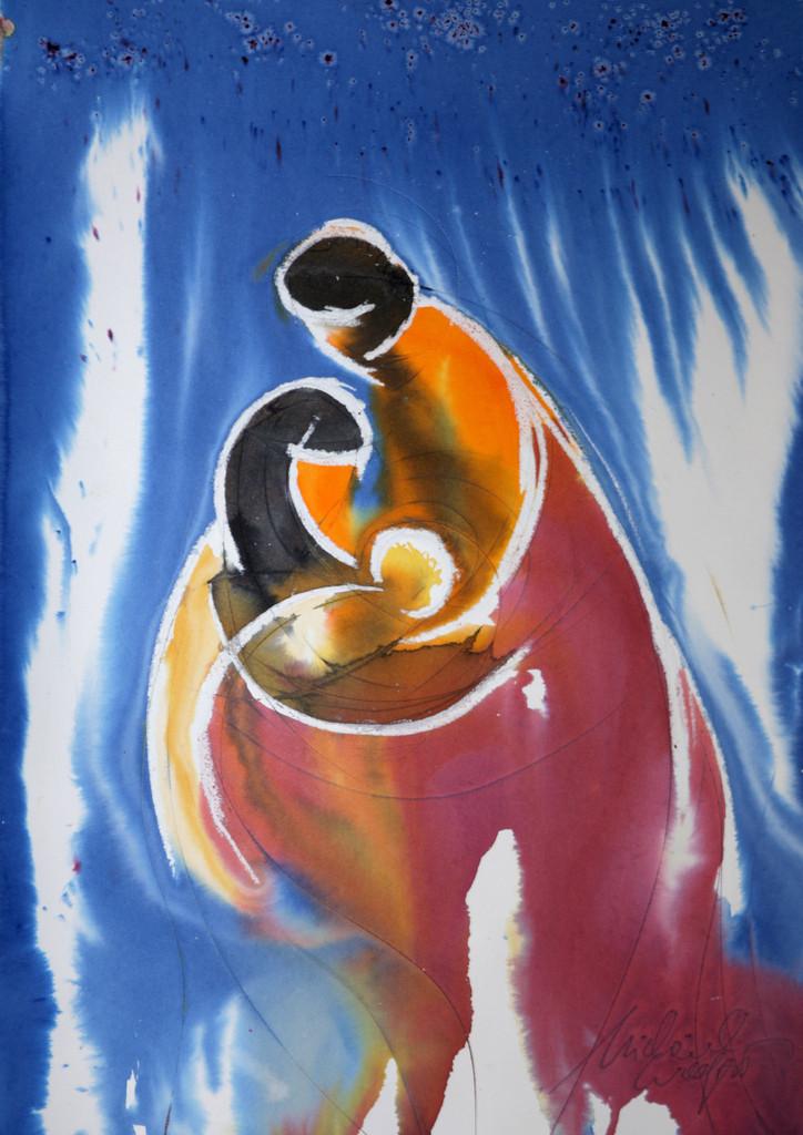Maria und Joseph | Eigentlich sind das liebe Freunde meiner Familie, die gerade ein Baby bekommen hatten. Sie waren auf meinem Geburtstag eingeladen und ich wollte jedem der Gäste ein Bild malen und schenken. Als Joseph und Maria hat es einen eingängigeren Titel in der Galerie und wurde inzwischen schon als Covermotiv für einen Weihnachtskalender des Bibellesebundes verwendet :)