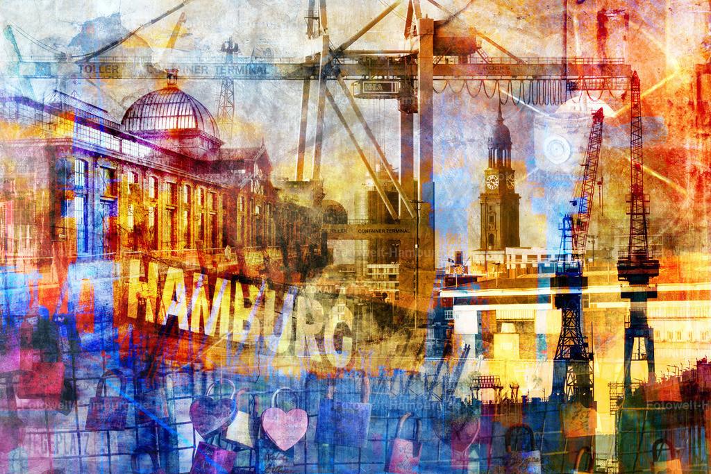 10210406 - Hamburg Collage 045 | Moderne Fotocollage im Pop-Art Stil mit vielen Hamburg Motiven wie z.B. der Fischauktionshalle, dem Michel und den Docks von Blohm und Voss.