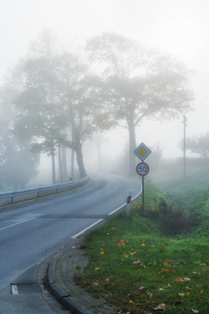 Landstraße im Nebel | Landstraße bei Kirchdornberg im Nebel.