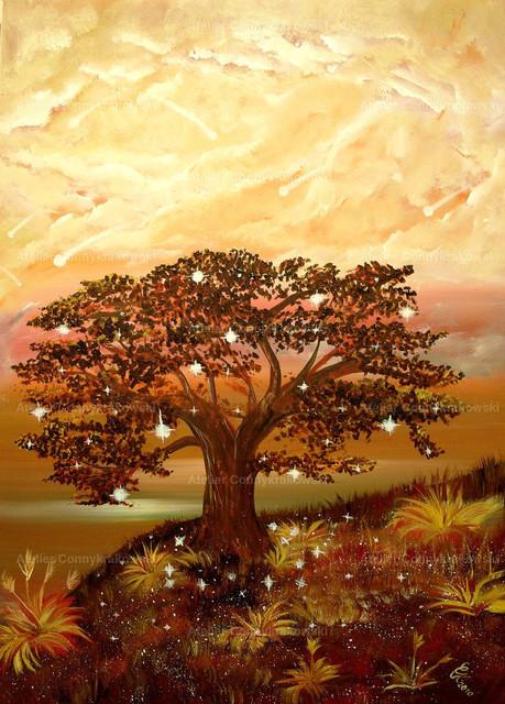 Der sonderbare Sternenbaum | Phantastischer Realismus aus dem Atelier Conny Krakowski. Verkäuflich als Poster, Leinwanddruck und vieles mehr.