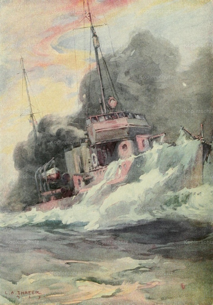 Shafer_ L.A. (1866-1940) - Nations at War 1917 - US Destroyer starting a smokescreen