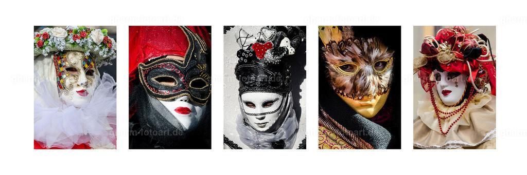 Karnevals-Masken Tableau Hallia Venezia | Tableau verschiedener Masken beim Karneval Hallia Venezia in Schwäbisch Hall