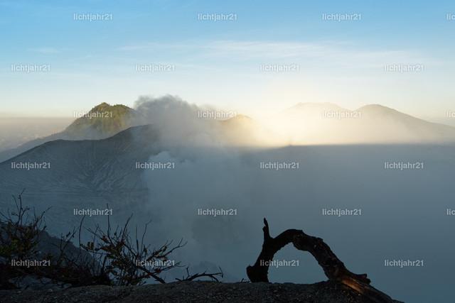Erstes Tageslicht und Bergschatten am aktiven Vulkan Ijen | Erstes Tageslicht am aktiven Vulkan Ijen, Blick vom ca. 3.000 Meter hoch gelegenen Kraterrand, Schatten des Kraterrandes auf den Bergen im Hintergrund, Nebelschwaden, Baumteil im Vordergrund - Location: Indonesien, Insel Java