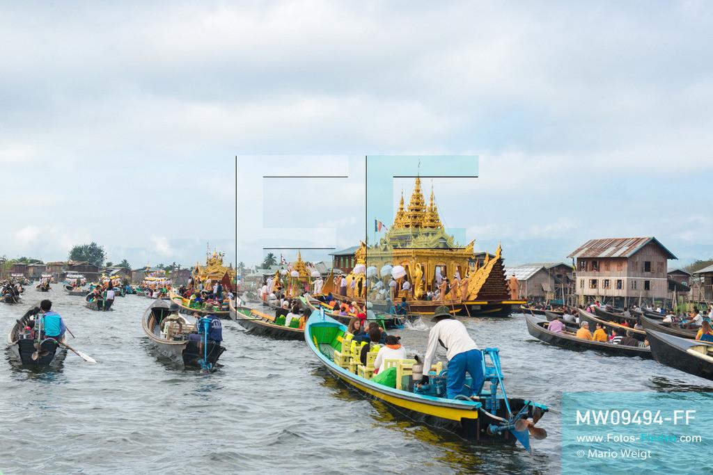 MW09494-FF   Myanmar   Nyaung Shwe   Reportage: Phaung Daw U Fest   Während der großen Bootsprozession transportiert die königliche Barke Shwe Hintha in Form eines Karaweik-Vogels vier goldene Buddha-Statuen von Dorf zu Dorf auf dem Inle-See.   ** Feindaten bitte anfragen bei Mario Weigt Photography, info@asia-stories.com **