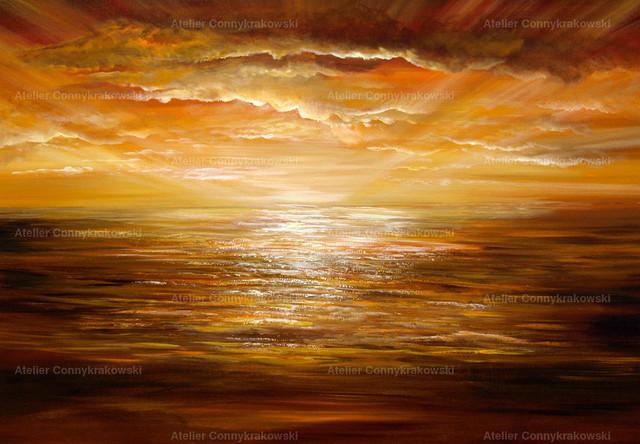 Sonnenuntergang am Meer ohne Leuchtturm 4000x300_bearbeitet-1 | Phantastischer Realismus aus dem Atelier Conny Krakowski. Verkäuflich als Poster, Leinwanddruck und vieles mehr.
